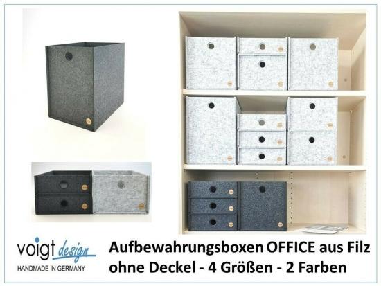 Aufbewahrungsbox OFFICE Filz - ohne Deckel - Ordnung Büro Regal Schrank Schreibtisch - 4 Größen 2 Farben - Made in Germany