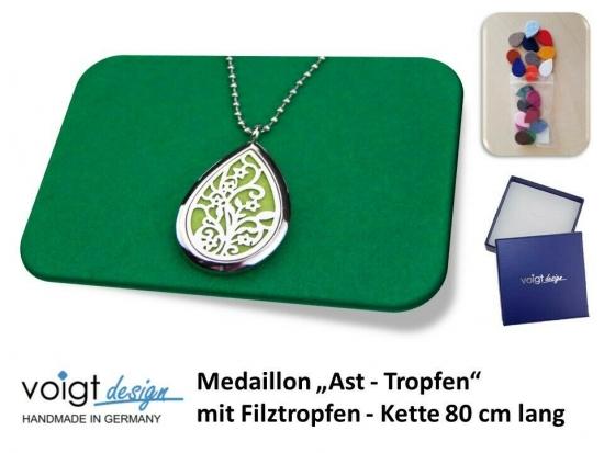 Medaillon AST TROPFEN Filztropfen Duft Aroma Halskette 80 cm Geschenkschachtel