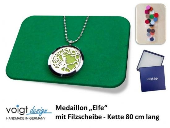 Medaillon ELFE Filzscheibe Duft Aroma Halskette 80 cm Geschenkschachtel