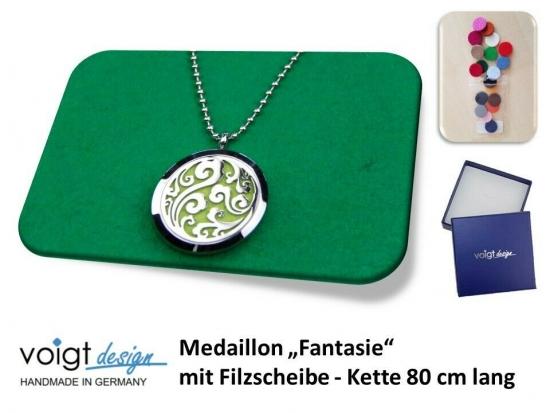 Medaillon FANTASIE Filzscheibe Duft Aroma Halskette 80 cm Geschenkschachtel
