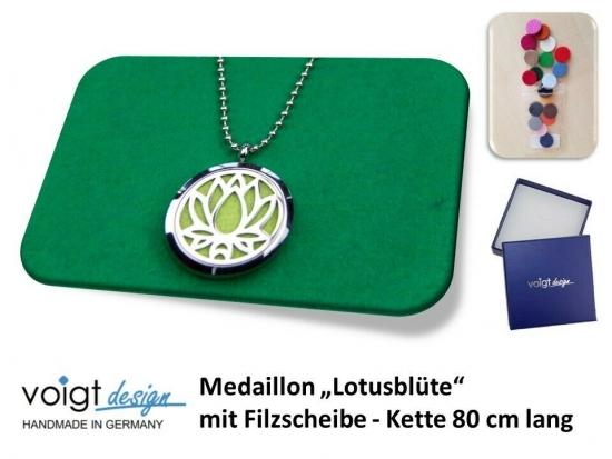 Medaillon LOTUSBLÜTE Filzscheibe Duft Aroma Halskette 80 cm Geschenkschachtel