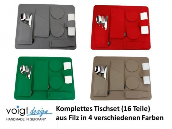 TISCHSET (16 Teile) Platzset Bestecktasche Untersetzer Serviettenring (4 Farben)